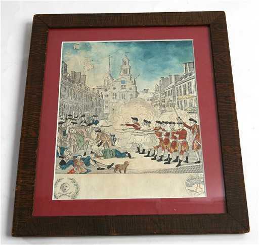rare early printing paul revere boston massacre print
