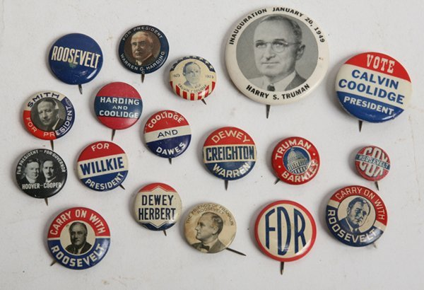 GROUP OF CAMPAIGN PINS W/SCARCE TRUMAN PHOTO CELO