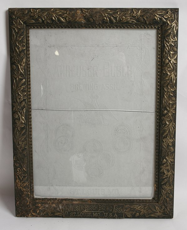 ETCHED GLASS ANHEUSER BUSCH BEER SIGN IN FRAME