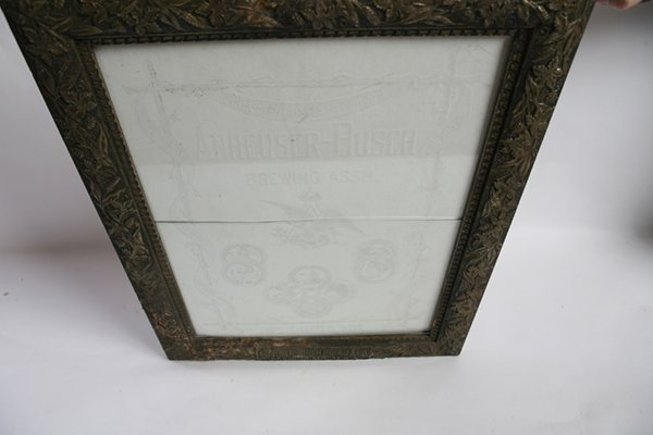 ETCHED GLASS ANHEUSER BUSCH BEER SIGN IN FRAME - 2