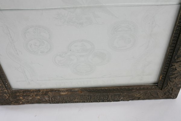 ETCHED GLASS ANHEUSER BUSCH BEER SIGN IN FRAME - 3