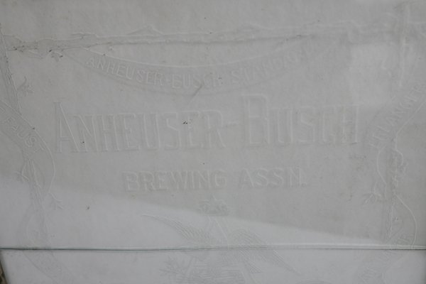 ETCHED GLASS ANHEUSER BUSCH BEER SIGN IN FRAME - 4
