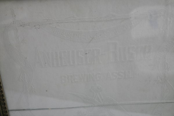 ETCHED GLASS ANHEUSER BUSCH BEER SIGN IN FRAME - 5