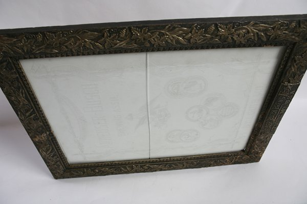 ETCHED GLASS ANHEUSER BUSCH BEER SIGN IN FRAME - 6
