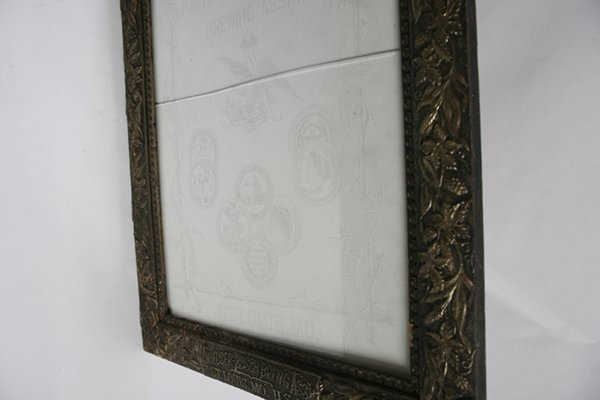 ETCHED GLASS ANHEUSER BUSCH BEER SIGN IN FRAME - 8