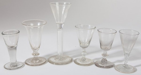 6 EARLY BLOWN GLASS WINES