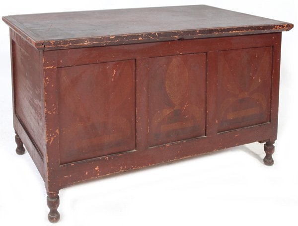 EARLY PAINT DECORATED BLANKET CHEST W/TOBACCO LEAVES