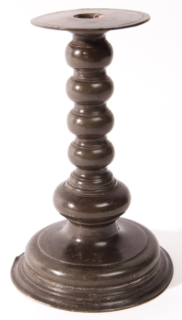 17TH CENTURY PEWTER CANDLESTICK