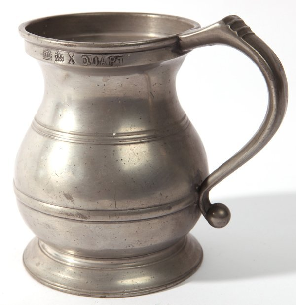 EARLY SIGNED PEWTER QUART TANKARD