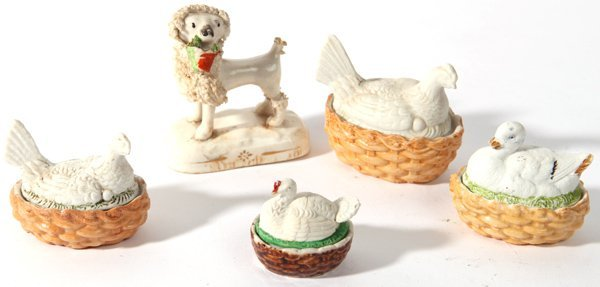 MINIATURE STAFFORDSHIRE DOG & HEN ON NESTS