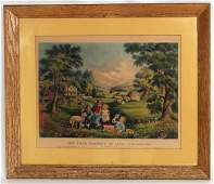 ORIGINAL CURRIER  IVES LARGE FOLIO HAND COLORED PRINT