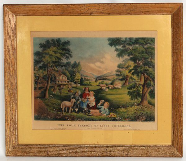 ORIGINAL CURRIER & IVES LARGE FOLIO HAND COLORED PRINT