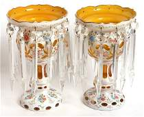 PAIR OF AMBER VICTORIAN CASE GLASS LUSTRES