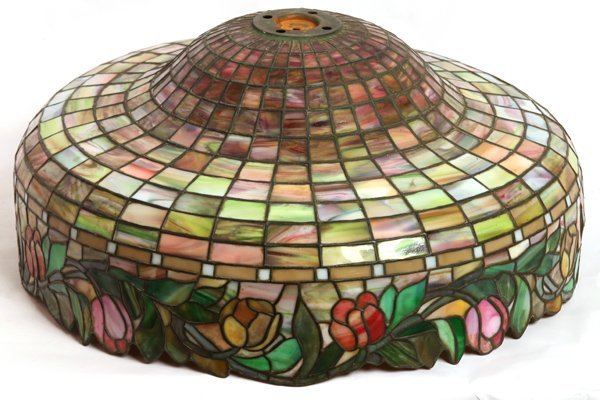 LARGE ARTS & CRAFTS LEADED GLASS LAMP SHADE