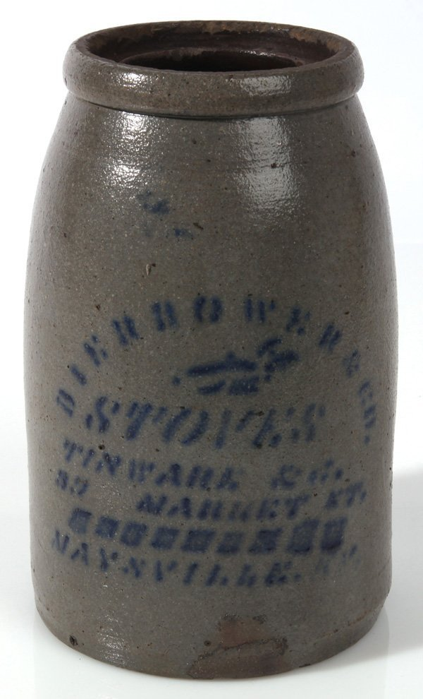 MAYSVILLE KENTUCKY BLUE DECORATED STONEWARE JAR