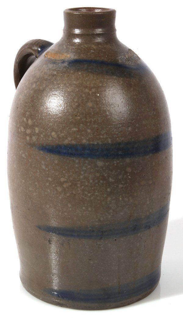 COBALT BLUE DECORATED LARGE MOUTH STONEWARE JUG