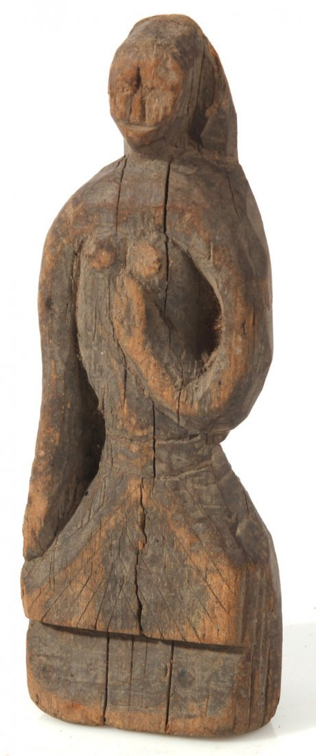 FINE FOLK ART CARVING OF A WOMAN