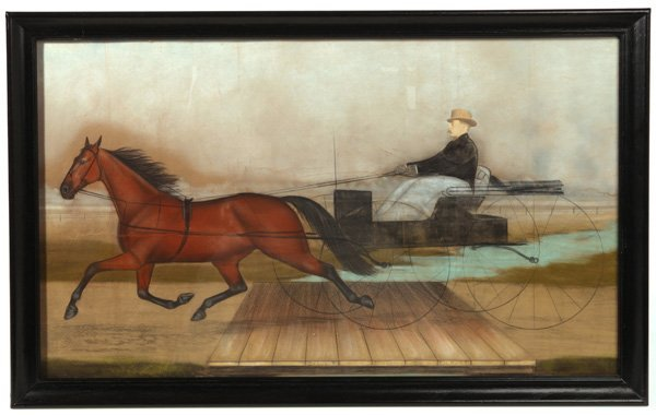FOLK ART PASTEL PAINTING OF RACING  HORSE TROTTER