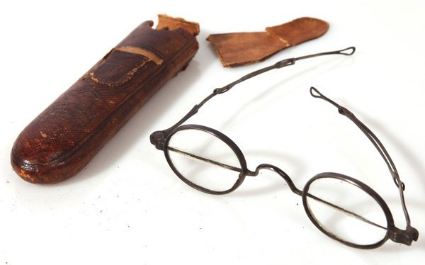 EARLY CASED SILVER BIFOCAL EYE GLASSES