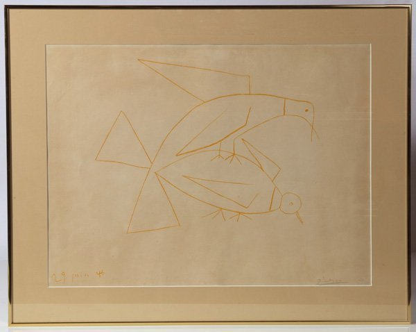 ORIGINAL PABLO PICASSO (SPANISH) PENCIL SIGNED