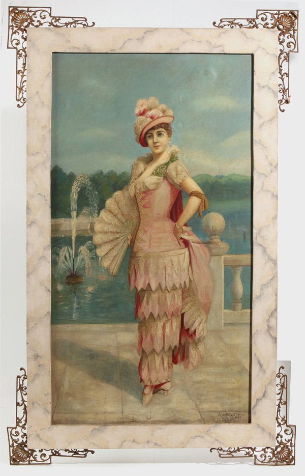 LARGE J. CORTIN 1894 OIL PAINTING OF VICTORIAN LADY