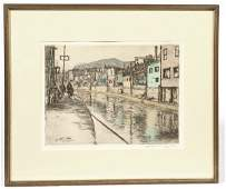EDWARD T HURLEY  ROOKWOOD ARTIST COLORED ETCHING