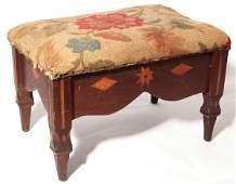 Ohio Folk Art Inlaid Footstool