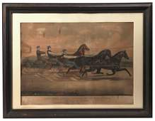 Large Folio Currier  Ives Horse Racing Print