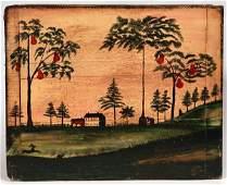 Contemporary Folk Art Painting Signed Judith