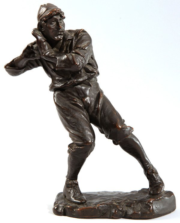 Circa 1910 Figural Baseball Pitcher Bronzed Statue by