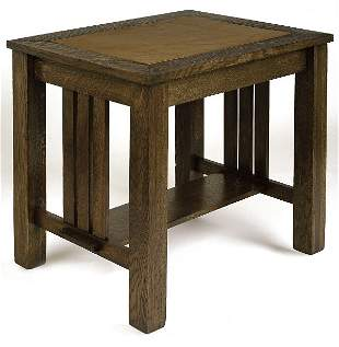 Arts & Crafts table with insert leather top, 3 slat