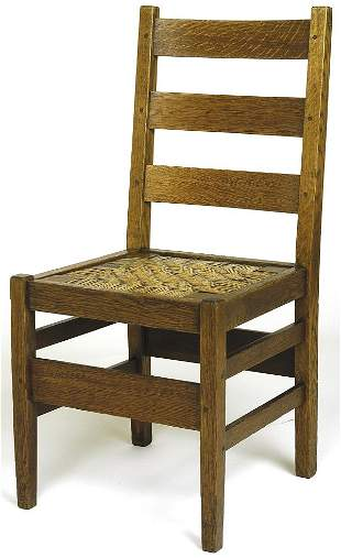Gustav Stickley chair, #370, with 3 horizontal back