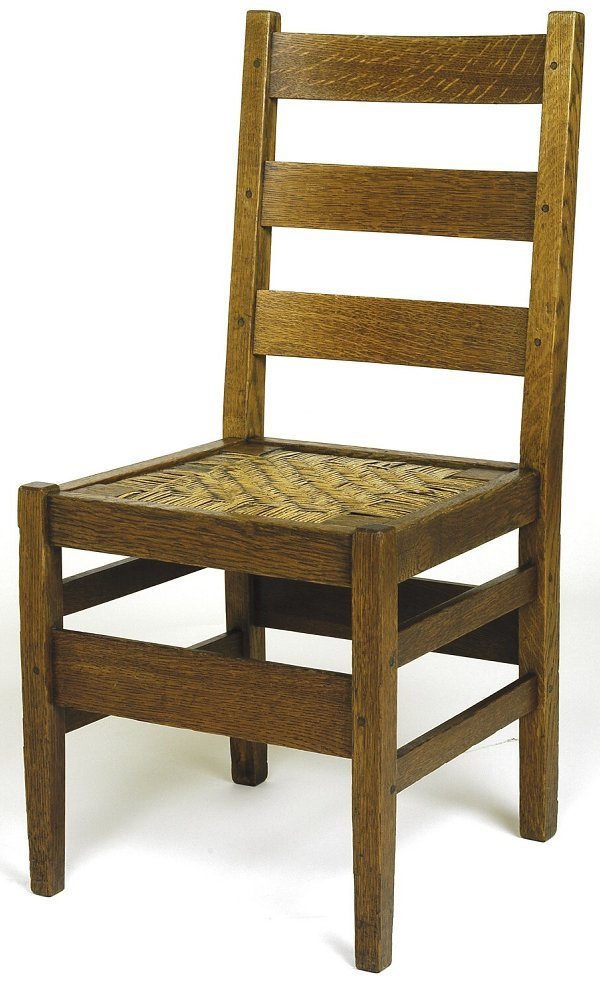 4: Gustav Stickley chair, #370, with 3 horizontal back