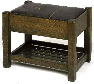 Arts & Crafts footstool with lower rack, original dr