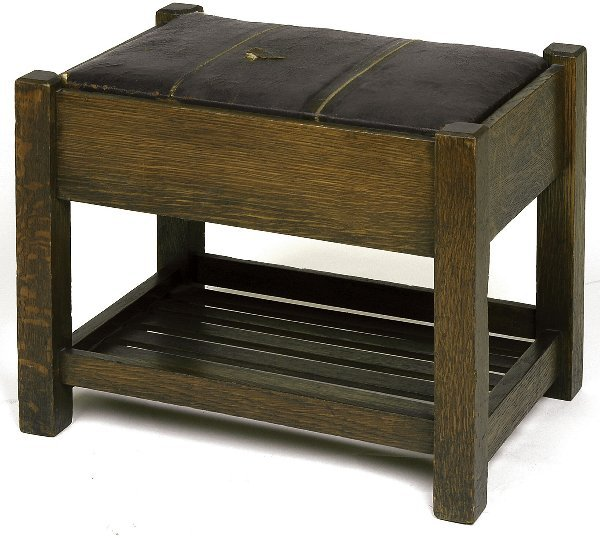 7: Arts & Crafts footstool with lower rack, original dr
