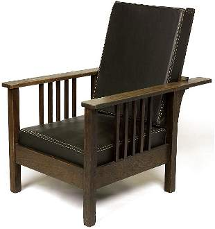 Stickley Brothers Morris chair attribution, with 5