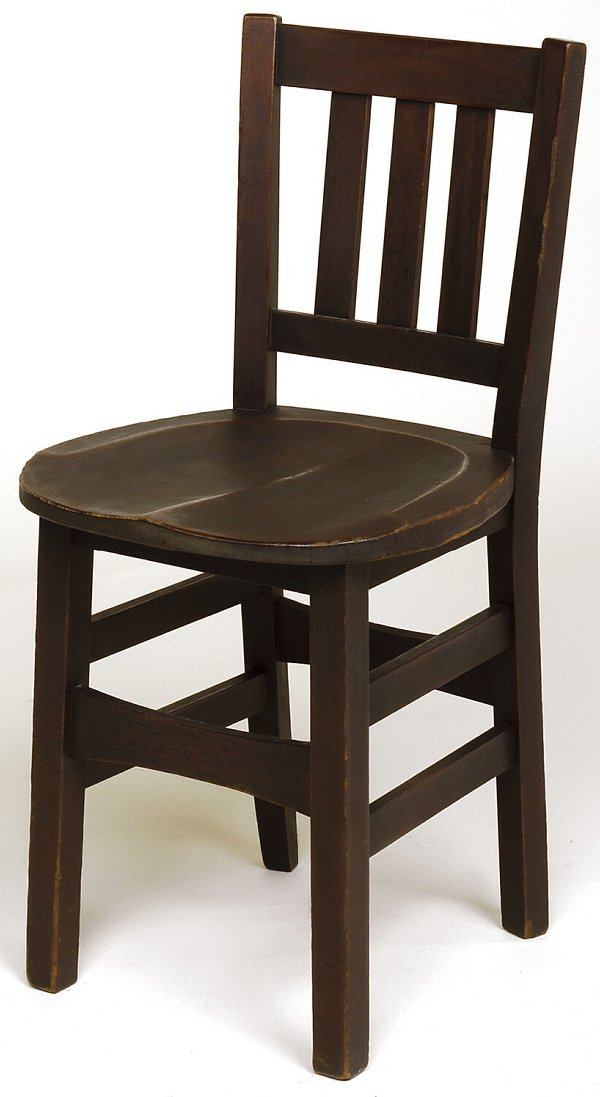 11: Stickley Brothers chair with 3 vertical slats in ba