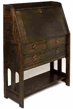 Stickley Brothers desk, #6500, fall front, arched c