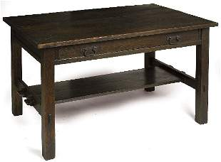 Arts and Crafts library table, 1 drawer with lower