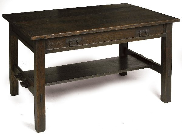 17: Arts and Crafts library table, 1 drawer with lower