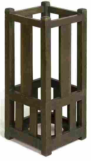 Arts and Crafts umbrella holder with 3 slats on eac