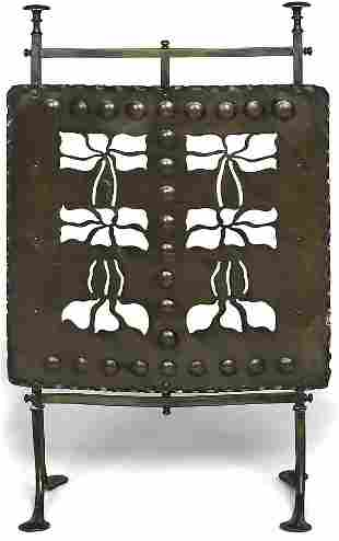 Arts and Crafts copper fire screen with cut out Art