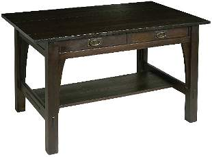 Gustav Stickley library table, #615, 2 drawers with