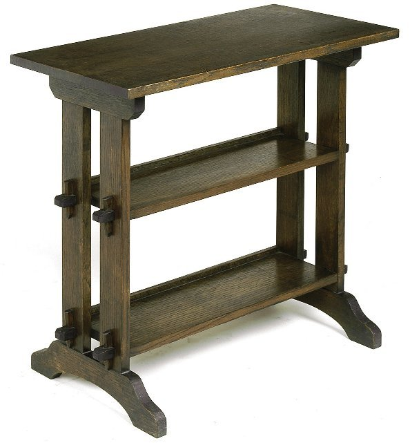 "24: Roycroft ""Little Journey"" stand with keyed-tenon co"
