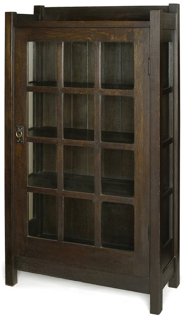 107: Important early Gustav Stickley china cabinet.  Th