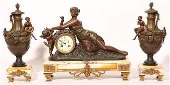 French Marble & Bronzed Figural Clock Set