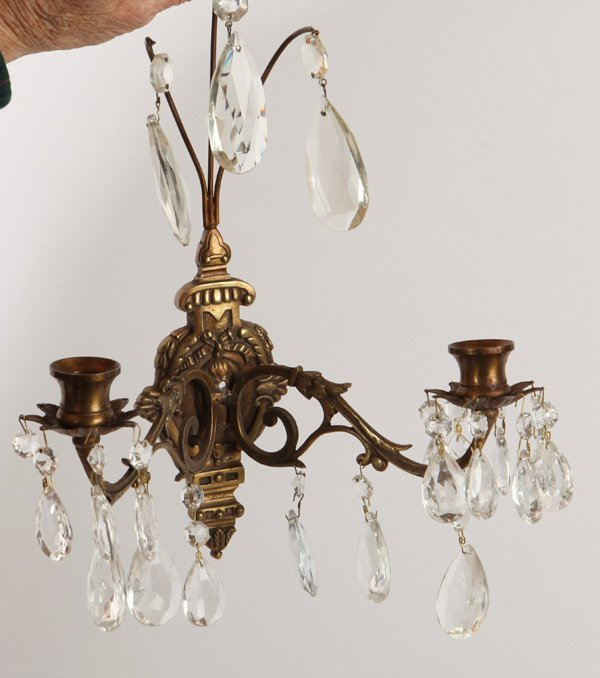 Pair Bronze & Crystal Candle Wall Sconces - 2