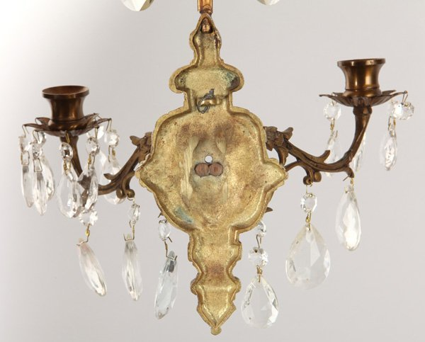 Pair Bronze & Crystal Candle Wall Sconces - 4