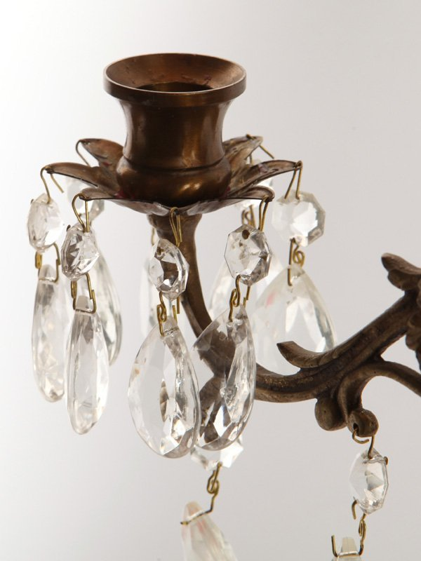 Pair Bronze & Crystal Candle Wall Sconces - 6