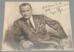 Autographed LBJ Charcoal Portrait